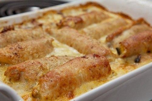 рулеты из свинины с грибами и сыром